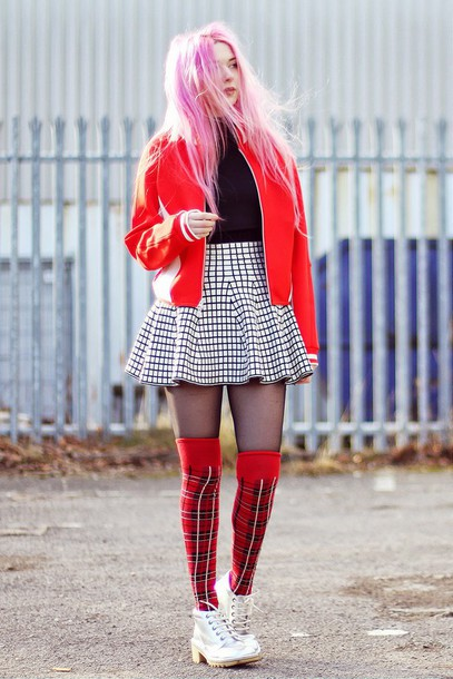 kayla hadlington blogger tartan knee high socks skater skirt checkered red jacket jacket skirt socks shoes