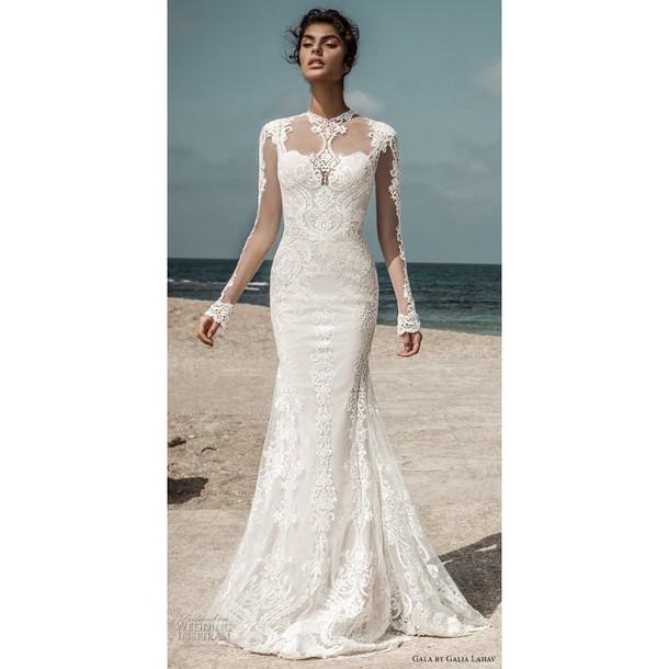 Dress Galaxy Print Open Back Wedding Dress Long Sleeves