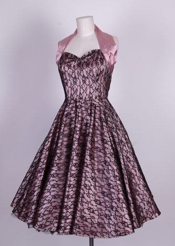 50s halterneck satin wedding dress lace overlay-dusky pink black [HL 003] - £44.99 : Queen of Holloway, Dressing Shop