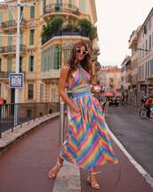 sunglasses,dress,maxi dress,colorful dress,shoes,sandals,cat eye