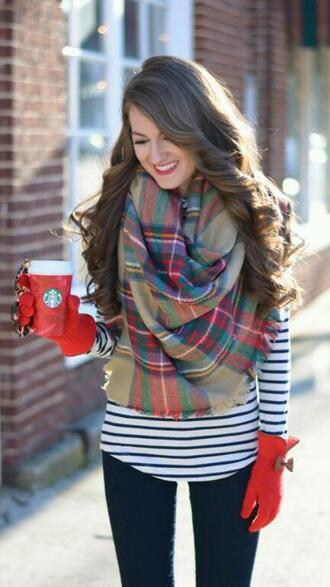scarf gloves red gloves winter outfits cute red red lipstick blanket scarf winter shirt bows