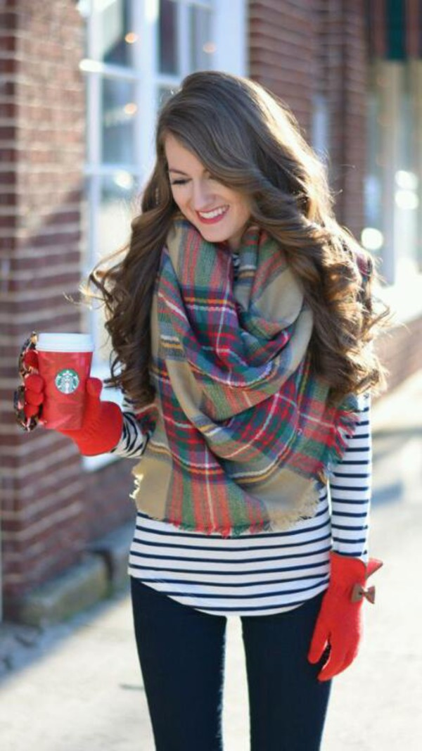Scarf gloves red gloves winter outfits cute red red lipstick blanket scarf winter shirt ...