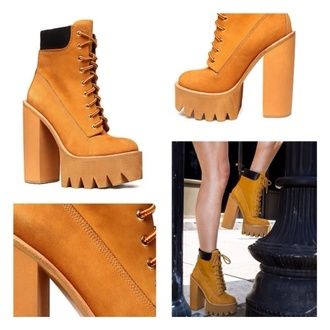 shoes jeffrey campbell timbaland boots wheat karma loop hbic platform lace up boots cute timberlands boots