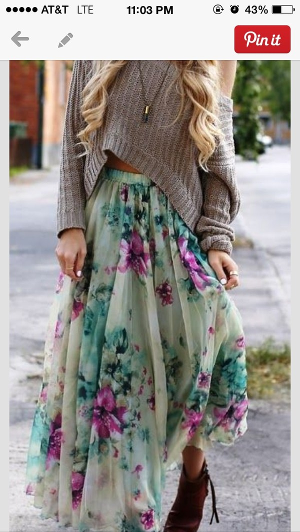 skirt floral skirt long skirt chicwish