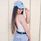 blouse,tumblr outfit,denim,low back,soft grunge,tumblr,cap,nike,adidas,grungre,grunge,belt,High waisted shorts,high wasted denim jeans,trendy,nail polish,little black boots,black,white,blue,baby pink,babe