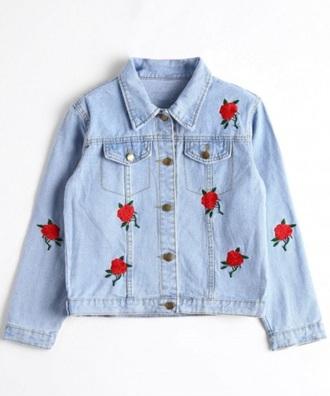 jacket girly blue denim jacket denim button up rose roses embroidered