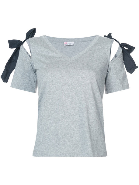 t-shirt shirt t-shirt bow women cotton grey top