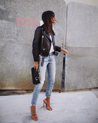 jacket black jacket tumblr leather jacket black leather jacket denim jeans blue jeans sandals sandal heels high heel sandals bag black bag