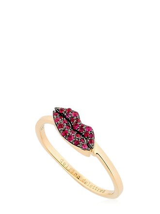 ring gold red jewels