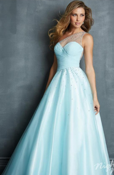 blue dress, prom dress, one shoulder, light blue, long prom dress ...