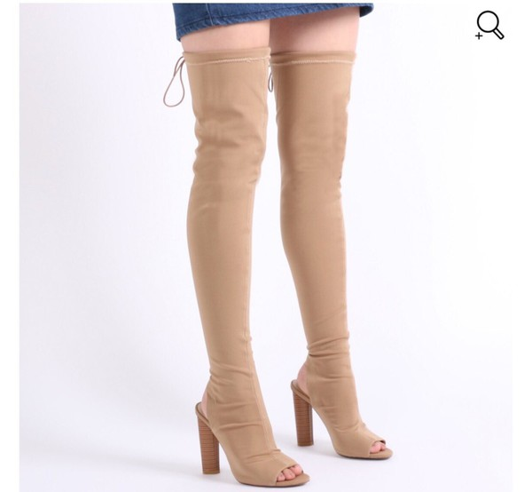shoes thigh high boots nude boots knee high boots peep toe boots