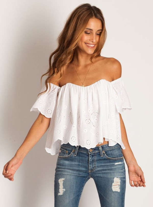 white white top off the shoulder off the shoulder top crochet