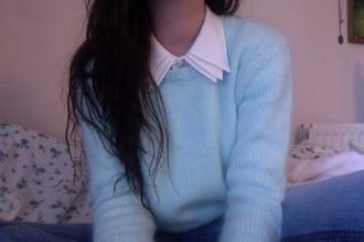 cotton fluffy fuzzy sweater white shirt collar pastel blue sweater