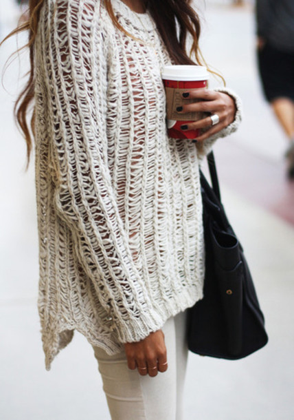 Sweater: knitwear, jumpsuit, oversized sweater, white, cream ...
