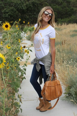 birdalamode blogger sunglasses skinny jeans brown boots graphic tee yellow coat yellow top