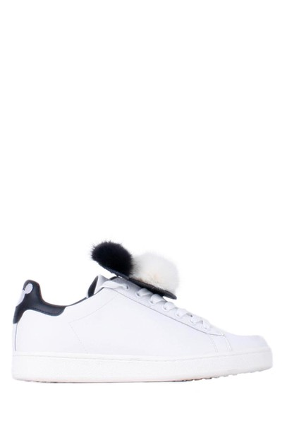M.O.A. fur sneakers leather white shoes