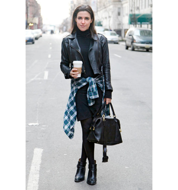 dress leather jacket tights