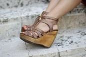 shoes,wedges,brown wedges,wood wedges,wooden wedges,leather wedges,wedge heel,light brown wedges