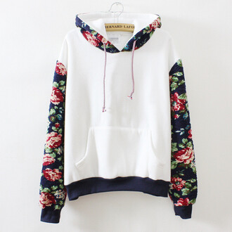 sweater floral white flowers raglan floral sweatshirt