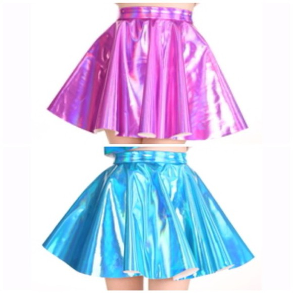 skirt mini skirt skater skirt holographic hologram skirt kawaii teens cheerleader