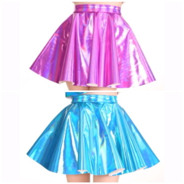 skirt holographic hologram skirt skater skirt kawaii mini skirt teenagers cheerleading