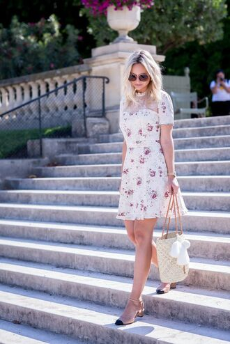 dress tumblr floral floral dress mini dress bag shoes slingbacks sunglasses