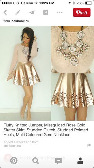 skirt gold sweater jewels metallic metallic skirt