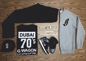 shirt,black,white,dubai,70s style,g wagon,dope,outfitgrid,arabic,kanye west,ASAP Rocky,shoes,sweater