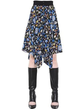 skirt floral blue black