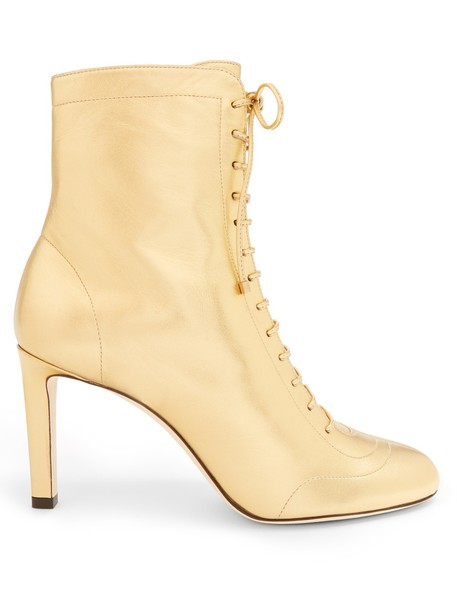 Jimmy Choo leather ankle boots ankle boots lace leather gold shoes