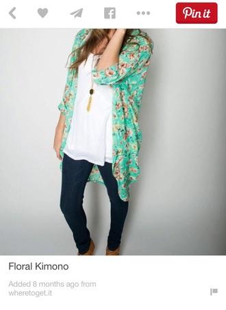 top mint floral kimono leggings