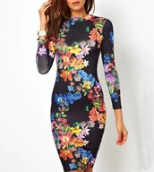 bodycon floral,pencil dress,bodycon dress,bodycon evening dress,floral,floral dress,long sleeve dress,open back dresses,girly,girly outfits tumblr,casual dress,casual,formal dress,formal,formal party dresses,formal black dress