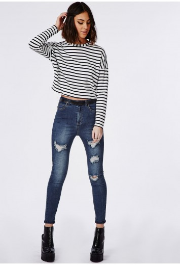 Edie high waisted multi rip skinny jeans indigo