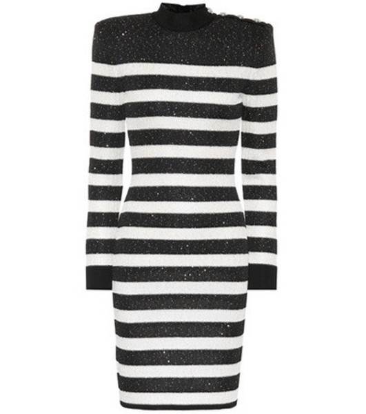 Balmain Sequined striped dress in black