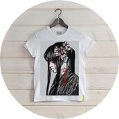 t-shirt,alexander tikhomirov,born to be,japanese girl,bloody girl,japan,ilife store,blood,tears