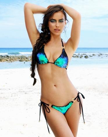 Beach Bunny Swimwear - MERMAID SEQUIN TRIANGLE TOP & TIESIDE BOTTOM - Swimwear