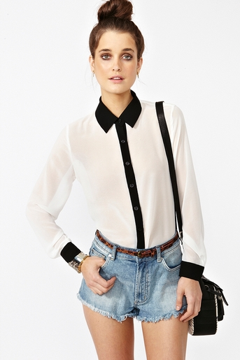 Chiffon tux blouse  in  clothes tops at nasty gal