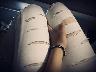 white jeans ripped jeans