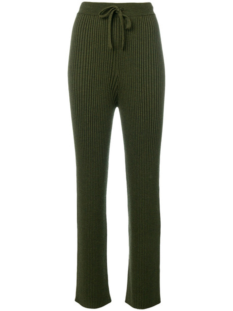 Common Wild - ribbed track pants - women - Merino - S, Green, Merino