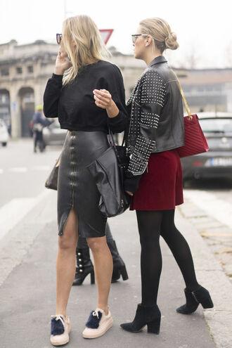 shoes sneakers skirt pencil skirt slit skirt shorts top jacket streetstyle milan fashion week 2016 fashion week 2016