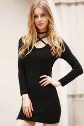 dress,black,long sleeves,trendy,knitwear,strappy,hot,fashion,dressfo,style,sexy,bodycon dress,knitted dress,black dress