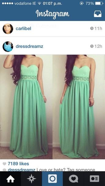 dress debsdress debs green long pretty fashion