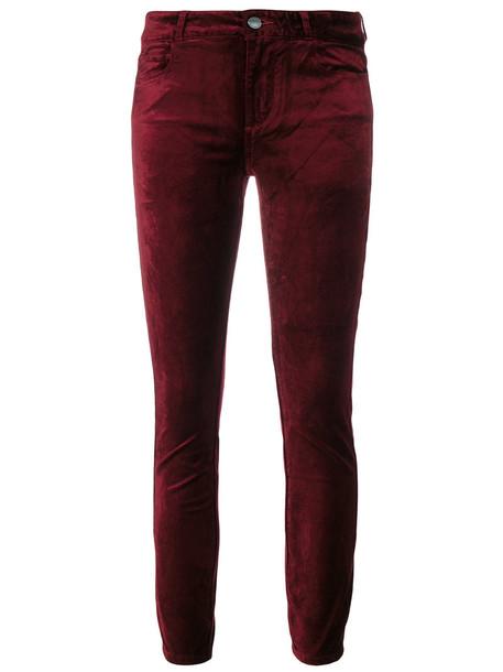 Paige women spandex cotton velvet red pants