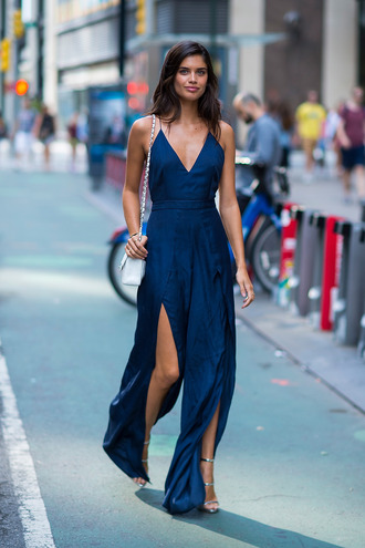 jumpsuit sara sampaio model streetstyle sandals navy pants slit pants summer outfits victoria's secret