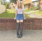 the velvet black,grunge,blogger,t-shirt,skirt,shoes,socks,frayed denim skirt,denim skirt,blue skirt,mini skirt,white t-shirt,quote on it,over the knee