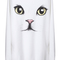 Romwe | cat face print white thick pullover, the latest street fashion