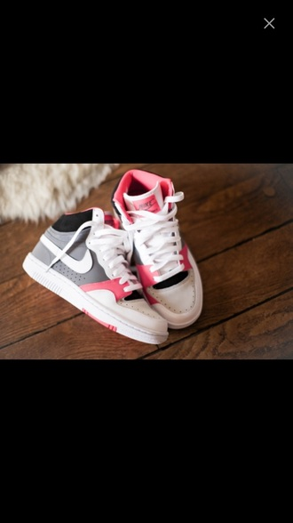 shoes pink sneakers white gray nike