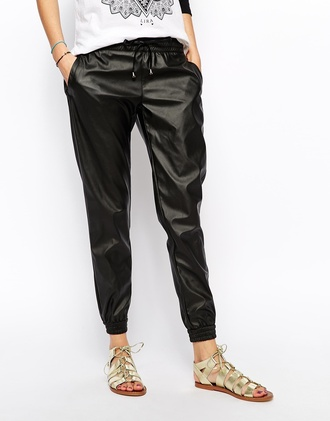 pants leather pants black pants metallic shoes metallic sandals
