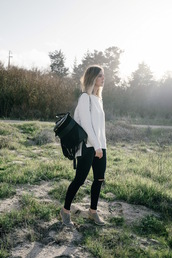 michelle madsen,home - take aim,blogger,sweater,jeans,shoes,coat,jewels,suede backpack,fringe backpack,black backpack,backpack,black ripped jeans,ripped jeans,white sweater,fall outfits,boots,grey boots,back to school
