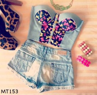 t-shirt bustier tanktop crop tops butterflies summer jewels shoes top
